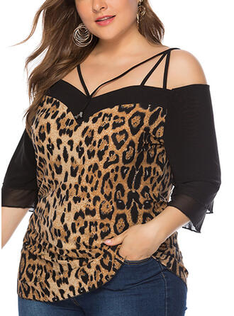 Leopard Patchwork Cold Shoulder 3/4 Sleeves Casual Sexy Plus Size Blouses