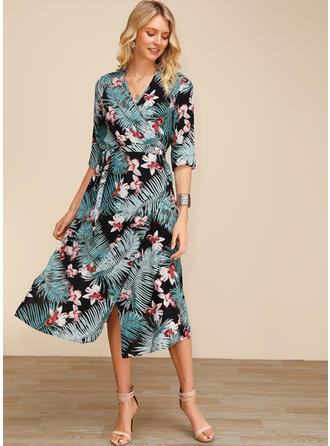 Print/Floral 3/4 Sleeves A-line Midi Casual/Elegant Dresses