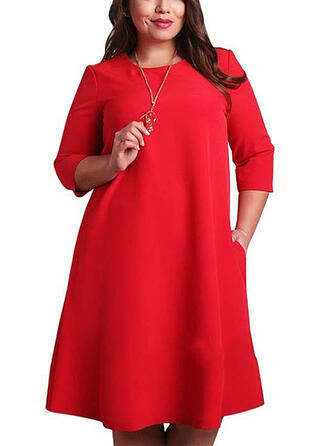 Solid 3/4 Sleeves Shift Knee Length Casual/Elegant/Plus Size Dresses