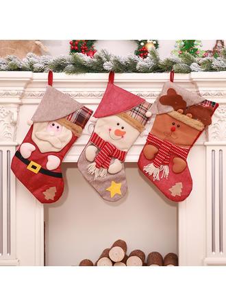 Feliz Navidad Monigote de nieve Reno Papa Noel Colgando Bolsa de regalo Tela Decoración navideña Medias