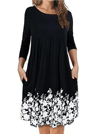 Print Floral Round Neck Knee Length Shift Dress