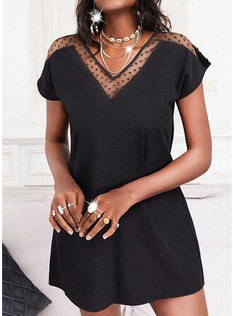 Solide Korte Mouwen Shift Boven de knie Zwart jurkje/Casual Tunieken Jurken