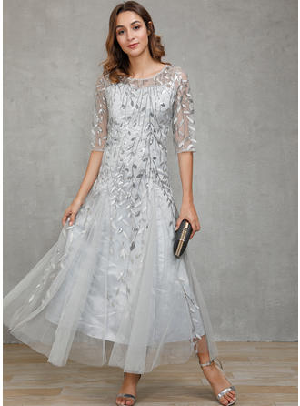 Sequins 1/2 Sleeves A-line Midi Party Dresses