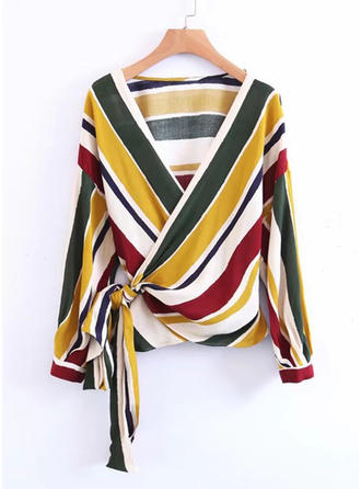 Polyester V Neck Striped Long Sleeves Casual Blouses