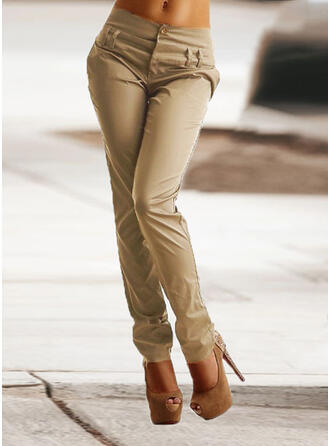 Sólido Patchwork Fruncido Talla extra Largo Elegante Flaco Llanura Pantalones