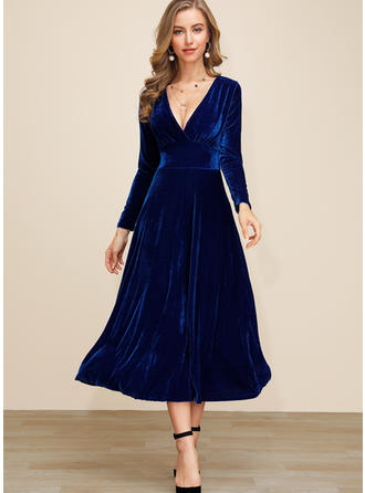 Solid Long Sleeves A-line Midi Party/Elegant Dresses
