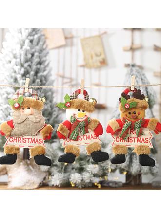 Hóember Rénszarvas Télapó Karácsony Függő Szövet Fa lógó díszek