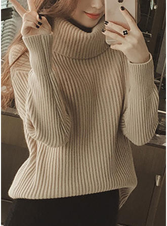 Plain Chunky knit Turtleneck Sweaters