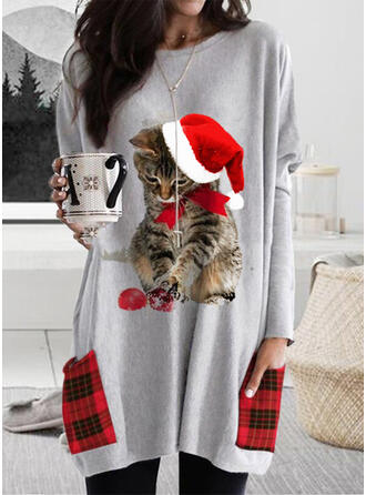 Dyr Grid Lommer rund hals Lange ærmer Jule sweatshirt