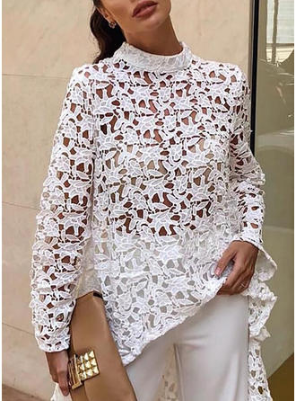 Jednolity Koronka Okrągły dekolt Długie rękawy Casual Elegancki Bluzki