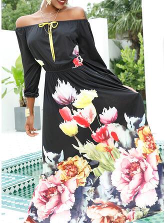 Print/Floral 1/2 Sleeves A-line Casual/Elegant Maxi Dresses