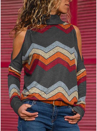 Striped High Neck Long Sleeves Casual Blouses