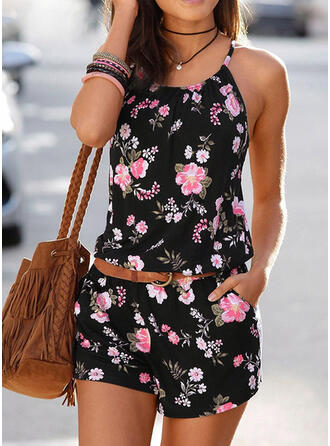 Floral Print Spaghetti Strap Sleeveless Casual Vacation Romper