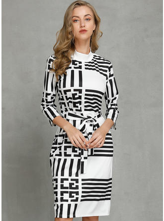 Print/Striped Long Sleeves Bodycon Knee Length Casual/Elegant Dresses