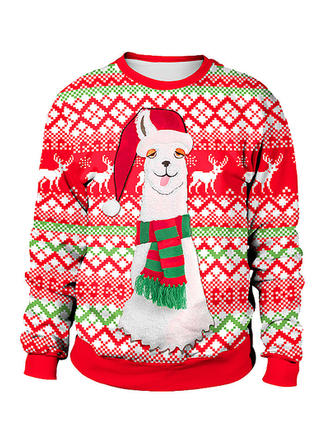 Cotton Blends Print Reindeer Christmas Sweatshirt