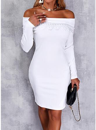 Egyszínű Δαντέλα Hosszú ujjú Testre simuló ruhák Térd feletti Κομψός φορέματα