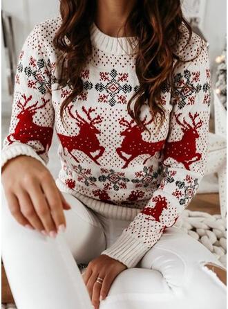 De mujer poliéster Impresión Reno Suéter feo de navidad