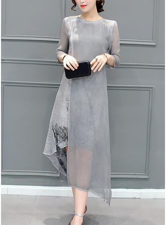 Print 3/4 Sleeves Shift Asymmetrical Casual/Party/Elegant Dresses