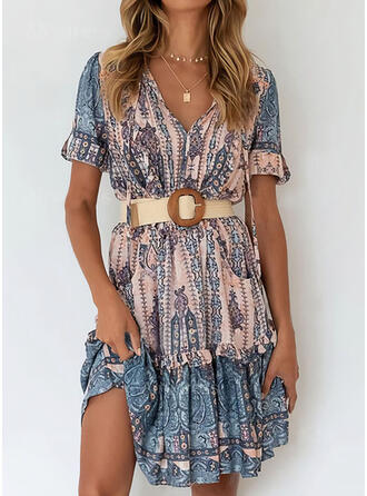 Print Short Sleeves A-line Knee Length Casual/Boho Skater Dresses