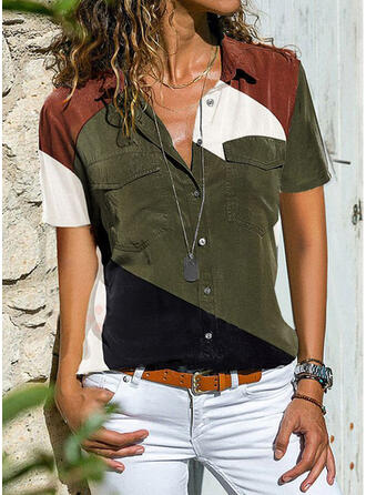 Color Block Klopa Krátké rukávy Na Knoflíky Neformální Košile halenky