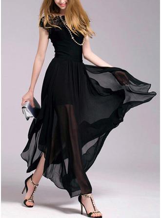 Chiffon With Lace Maxi Dress