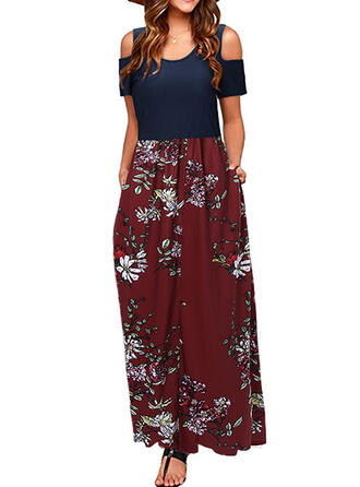 Print/Floral Short Sleeves/Cold Shoulder Sleeve A-line Casual/Vacation Maxi Dresses