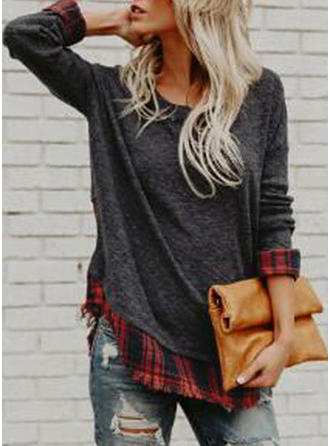 Cotton Round Neck Geometric Print Long Sleeves Casual Blouses