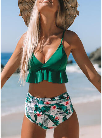 Print Push Up Ruffles Strap V-Neck Cute Bikinis Swimsuits