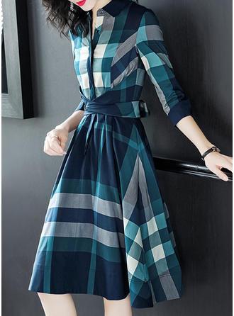Kratę Okrągły Dekolt Midi Sukienka Trapezowa