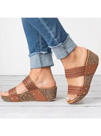 Dla kobiet PU Obcas Koturnowy Sandały Platforma Koturny Otwarty Nosek Buta Z Pozostałe obuwie