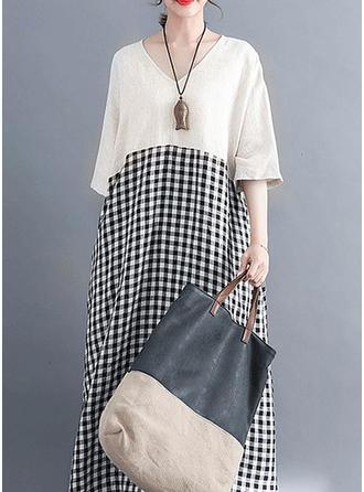 Plaid 1/2 Sleeves Shift Maxi Casual Dresses
