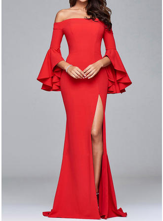 Solid 3/4 Sleeves Sheath Maxi Party Dresses