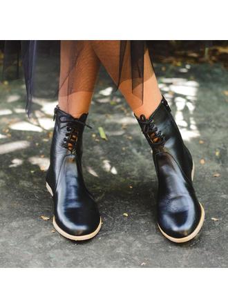 Femmes PU Talon bottier Bottines avec Zip Dentelle chaussures