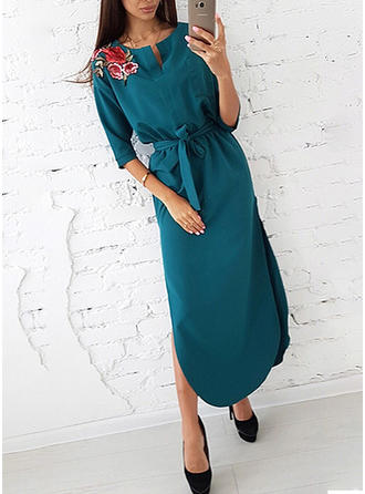 3/4 Sleeves A-line Midi Casual Dresses