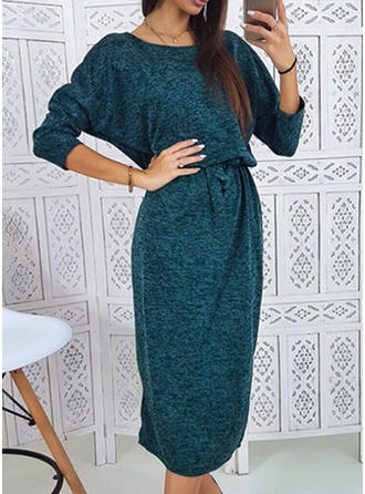 Solid 3/4 Sleeves Bodycon Midi Sexy/Casual Dresses