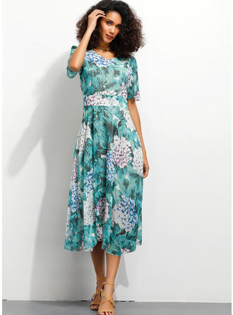 Print/Floral 1/2 Sleeves A-line Midi Casual/Elegant Dresses
