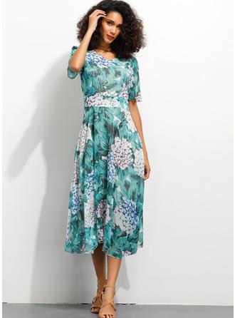 Nadrukowana/Kwiatowy Rękawy 1/2 W kształcie litery A Midi Casual/Elegancki Sukienki