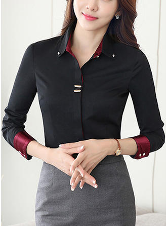 Cotton Lapel 3/4 Sleeves Shirt Blouses