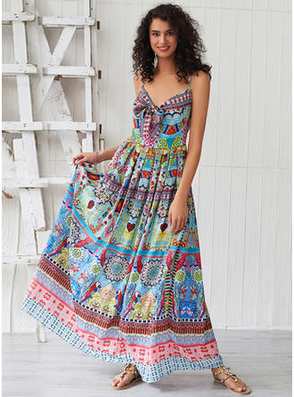 Print Sleeveless A-line Maxi Casual/Boho/Vacation Dresses