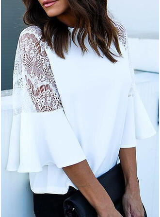 Solid Patchwork Lace Round Neck Flare Sleeve Long Sleeves Casual Blouses