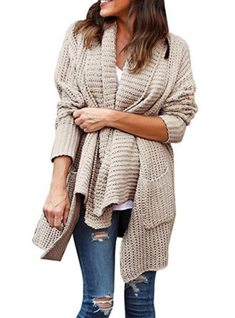 Polyester Couleur unie Cardigan