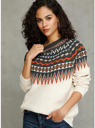 Print Cable-knit Round Neck Sweaters