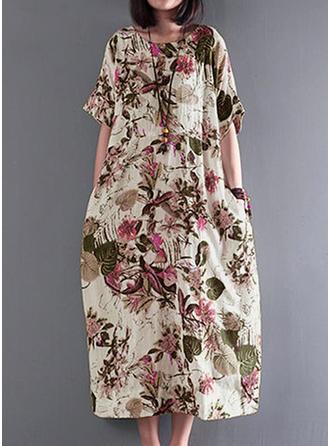 Imprimée/Fleurie Manches 1/2 Droite Midi Décontractée Robes