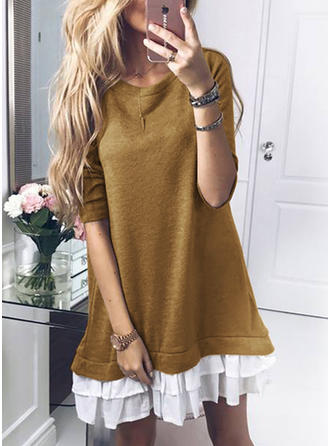 Ruffles Long Sleeves Shift Above Knee Casual Dresses