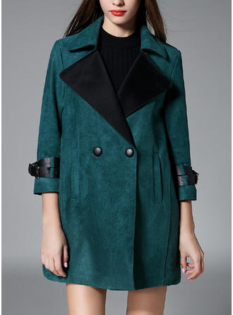 Leather Polyester Long Sleeves Plain Trench Coats