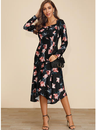 Print/Floral Long Sleeves A-line Midi Party/Elegant Dresses
