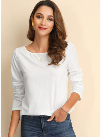 Solid Long Sleeves Casual Knit Tops