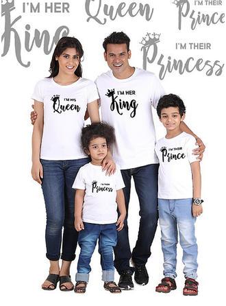 Mektup Baskı Aile Eşleşen T-shirt