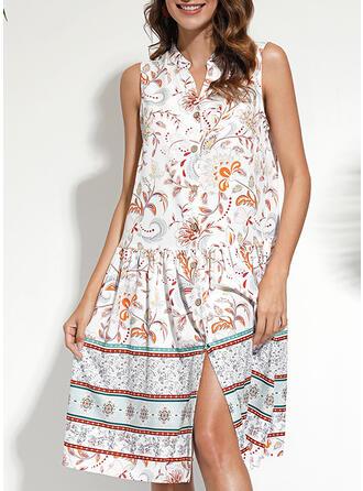 Estampado/Floral Sem mangas Shift Acima do Joelho Casual/Boho/Férias Camisa Vestidos