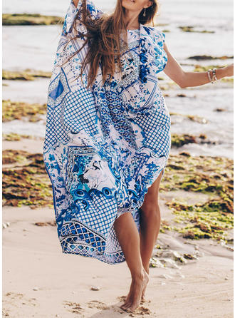 Print Round Neck Bohemian Cover-ups Swimsuits